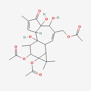 5H-Cyclopropa[3,4]benz[1,2-e]azulen-5-one, 9,9a-bis(acetyloxy)-3-[(acetyloxy)methyl]-1,1a,1b,4,4a,7a,7b,8,9,9a-decahydro-4,4a,7b-trihydroxy-1,1,6,8-tetramethyl-