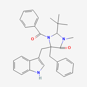 1-Benzoyl-5-benzyl-2-t-butyl-5-(1H-indol-3-ylmethyl)-3-methyl-imidazolidin-4-one