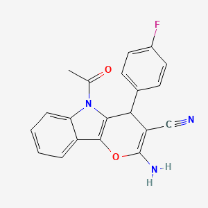 5-Acetyl-2-amino-4-(4-fluorophenyl)-4,5-dihydropyrano[3,2-b]indole-3-carbonitrile