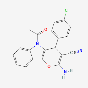 5-Acetyl-2-amino-4-(4-chlorophenyl)-4,5-dihydropyrano[3,2-b]indole-3-carbonitrile