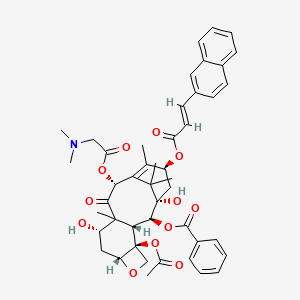 Chemical structure for 10-N,N-Dimethylglycyl-13-[3-(2-Naphthyl)prop-2-enoyl]-10-deacetylbaccatin III