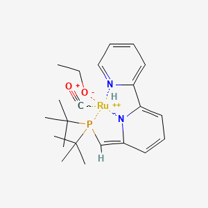 Chemical structure for Dearomatized-6-((di-tert-butylphosphino)methyl)-2,2'-bipyridineRu(dihydrogen)(CO)(ethoxy)