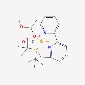 Chemical structure for 6-((Di-tert-butylphosphino)methyl)-2,2'-bipyridineRu(H)(CO)(1-hydroxyethanolate)