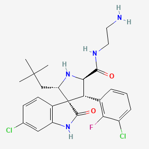Chemical structure for (2's,3r,4's,5'r)-N-(2-Aminoethyl)-6-Chloro-4'-(3-Chloro-2-Fluorophenyl)-2'-(2,2-Dimethylpropyl)-2-Oxo-1,2-Dihydrospiro[indole-3,3'-Pyrrolidine]-5'-Carboxamide