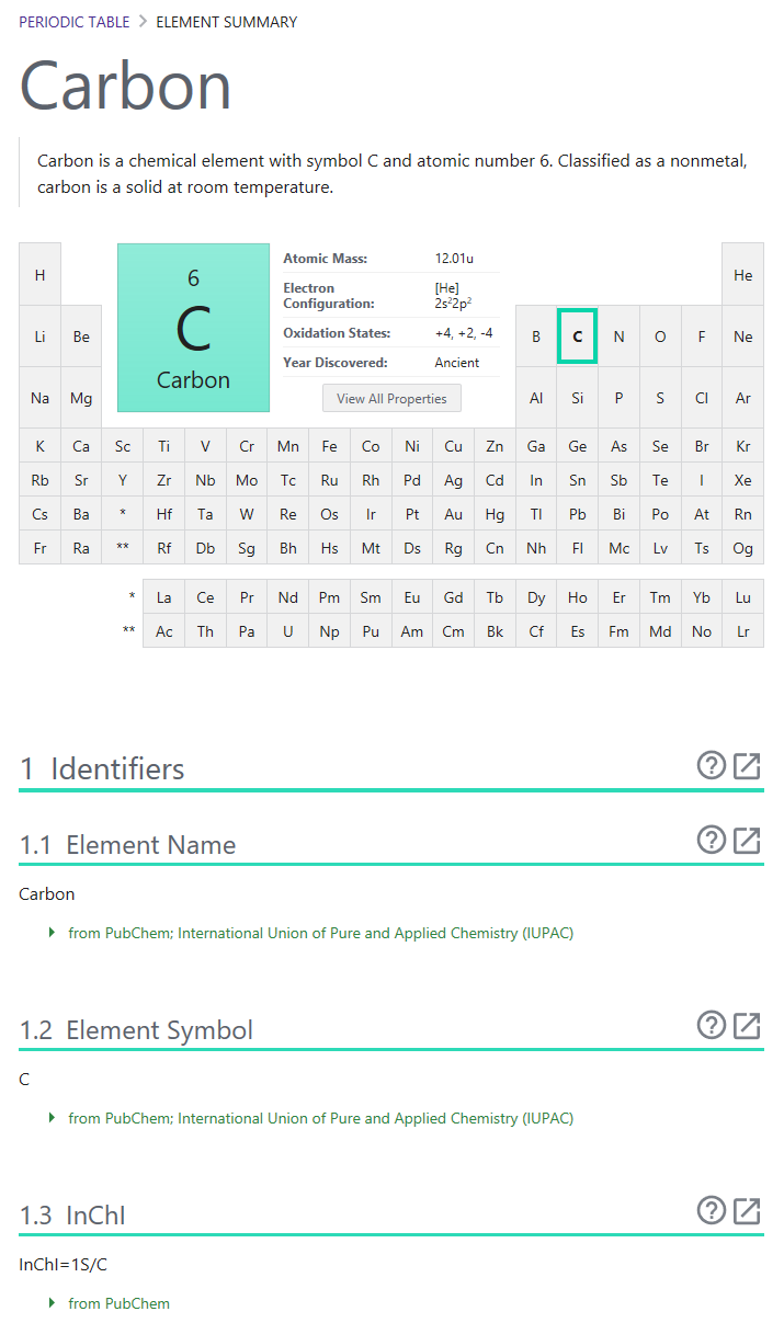 PubChem Element Page