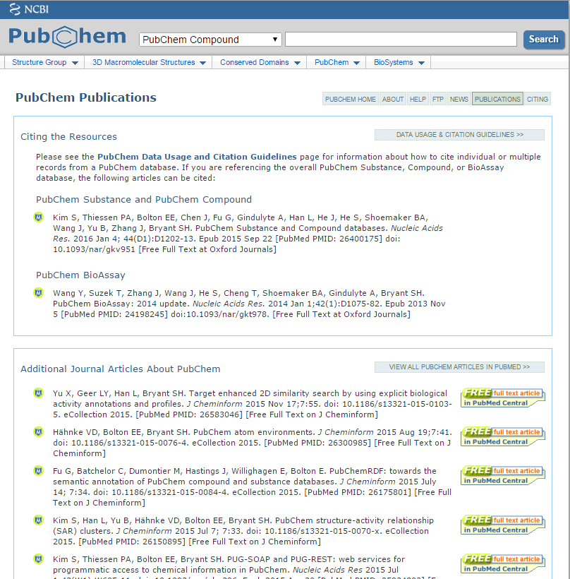 PubChem Publications